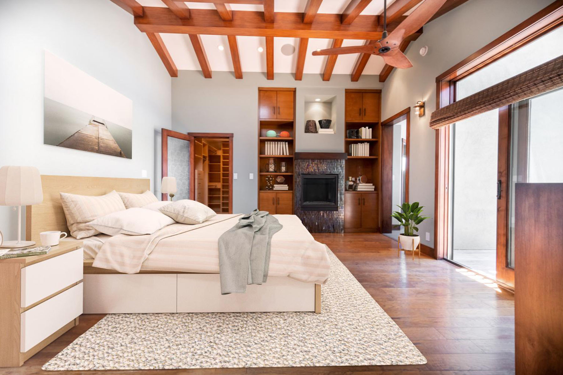 Strand home bedroom; Silver Strand, CA