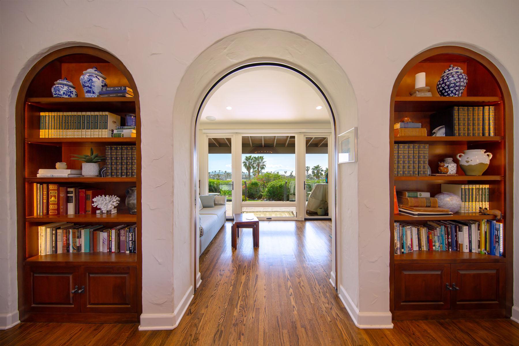 Vista del Mar hallway bookcases; Ventura, CA